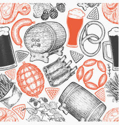 oktoberfest seamless pattern hand drawn greeting vector image