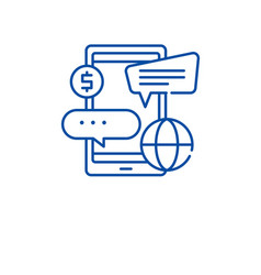 online banking services line icon concept online vector image