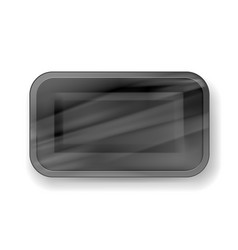 packaging black foam tray wrapped vector image
