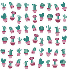 Pattern with cactus and succulents in flowerpots vector
