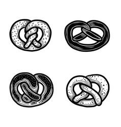 pretzel icon set hand drawn style vector image