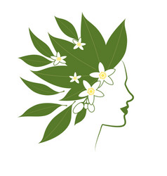 profile line of woman with flowers and orange vector image