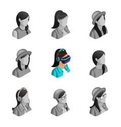 quality isometry 3d avatar active girl vector image