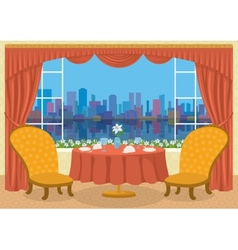 Restaurant with city view vector image