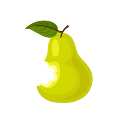 Ripe bitten pear with green leaf delicious summer vector