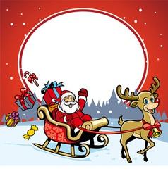 santa and the deer greeting christmas vector image