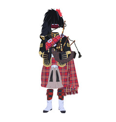 Scottish traditional clothing with bagpipes vector