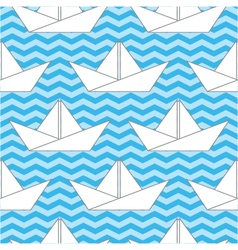 Seamless background with paper boats on the waves vector