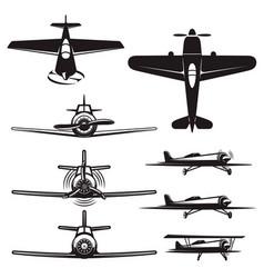 set airplane icons retro airplanes design vector image
