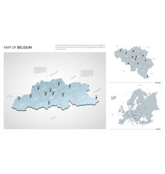 set belgium country isometric 3d map belgium vector image