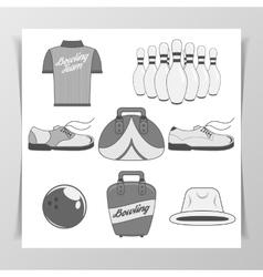 set bowling vintage design elements vector image