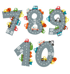 set numbers with number cars from 7 to 10 vector image