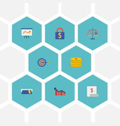 set of finance icons flat style symbols with card vector image