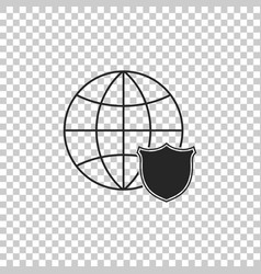 shield with world globe icon isolated on vector image