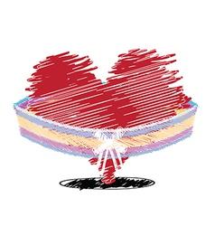sketch drawing heart celebration design vector image