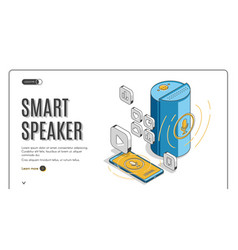 Smart speaker landing on retro colored background vector