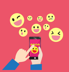 Smartphone communication emoticons message vector
