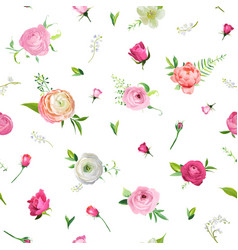 Summer floral seamless pattern with pink roses vector