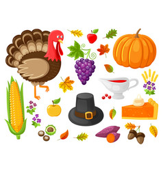 turkey and pumpkin products thanksgiving vector image