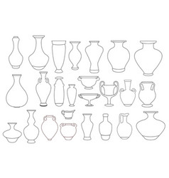 vases and amphora linear ceramic vector image