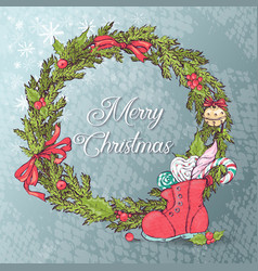 white card with christmas wreath and bow vector image