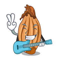 With guitar ripe shallot isolated on a mascot vector