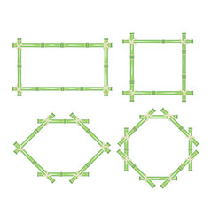 Wooden frame of green bamboo sticks set vector