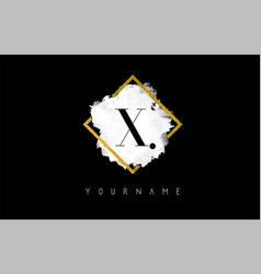 x letter logo design with white stroke and golden vector image