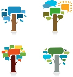 collection od four trees with speach trees vector image vector image