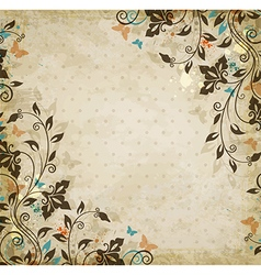 Decorative floral vintage background vector image