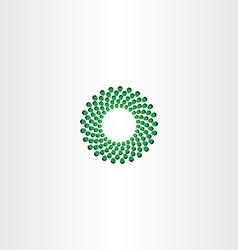 green circle particle fusion icon logo vector image