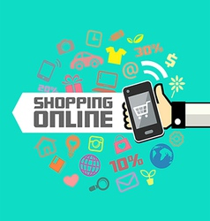 Mobile in human hand online shopping vector image vector image