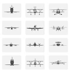 monochrome icons set with planes vector image vector image