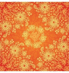 Orange doodle flowers ornate seamless pattern vector image