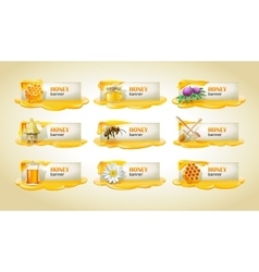 Set of sweet honeyed banners vector image vector image