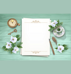 Top view background with white flowers vector