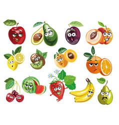 cute fruit characters vector image