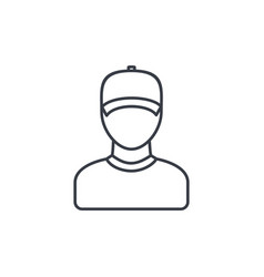 delivery man in cap courier thin line icon vector image vector image