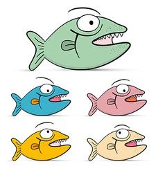 Fish Set Isolated on White Background - vector image