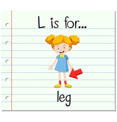 Flashcard letter L is for leg vector image vector image