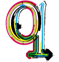 Grunge colorful font Letter q vector image vector image