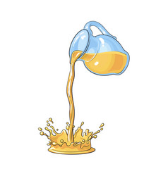 jar with orange juice pouring down making splash vector image vector image