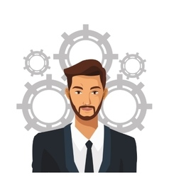 man bearded suit business work team gear vector image