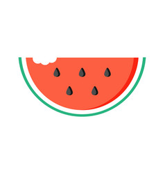 watermelon slice with bite mark vector image