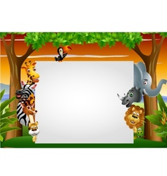 Wild African animal cartoon with blank sign vector image
