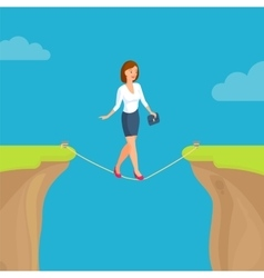 Abyss gap concept with woman sky and clouds vector image vector image