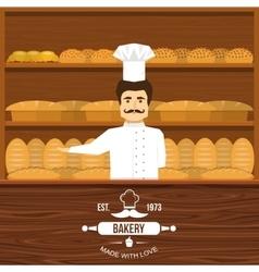 Baker Behind Counter Design vector image