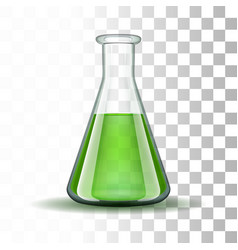 Chemical laboratory transparent flask with green vector image vector image