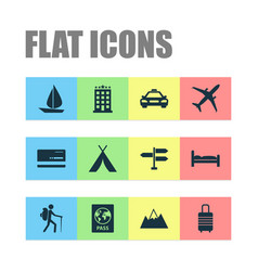 Exploration icons set collection of doss car vector