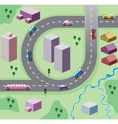 houses and cars on the road vector image vector image
